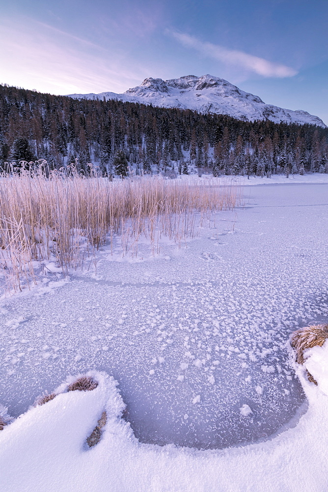 Frozen lake, Lej da Staz, St. Moritz, Engadine, Canton of Graubunden (Grisons), Switzerland, Europe