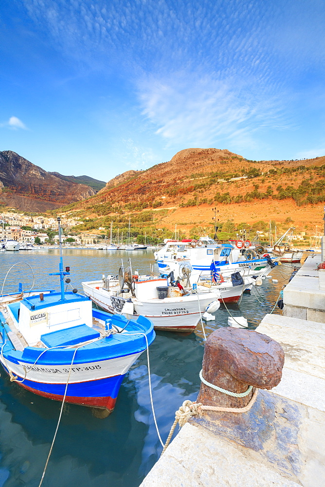 Fishing boats at the harbor, Castellammare del Golfo, province of Trapani, Sicily, Italy, Mediterranean, Europe