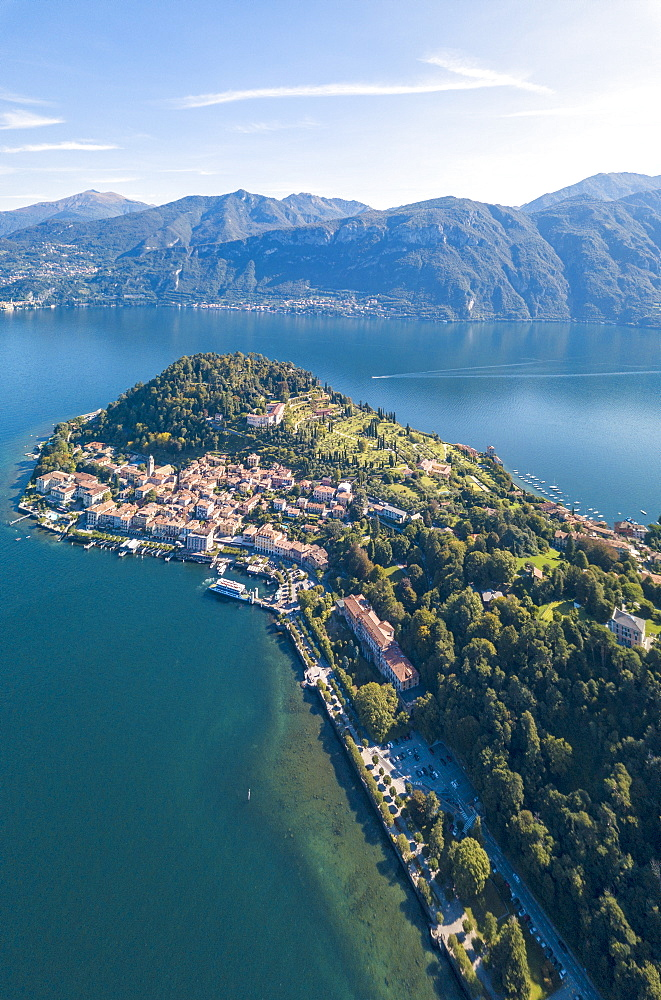 Panoramic aerial view of Bellagio on green promontory surrounded by Lake Como, Province of Como, Lombardy, Italy - 1179-2916