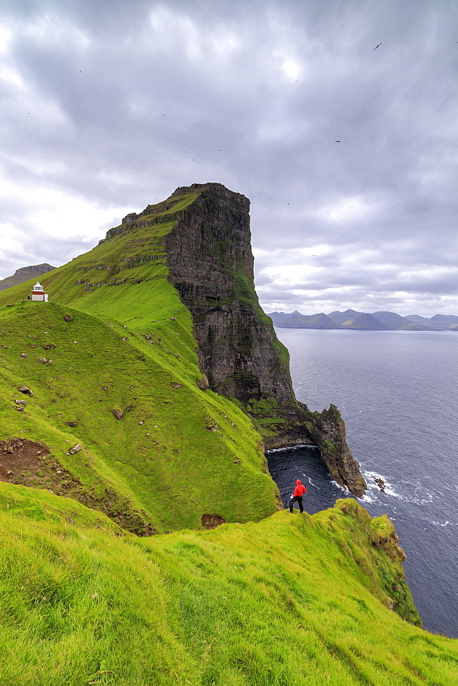 Hiker on cliffs looking to Kallur Lighthouse, Kalsoy Island, Faroe Islands, Denmark, Europe