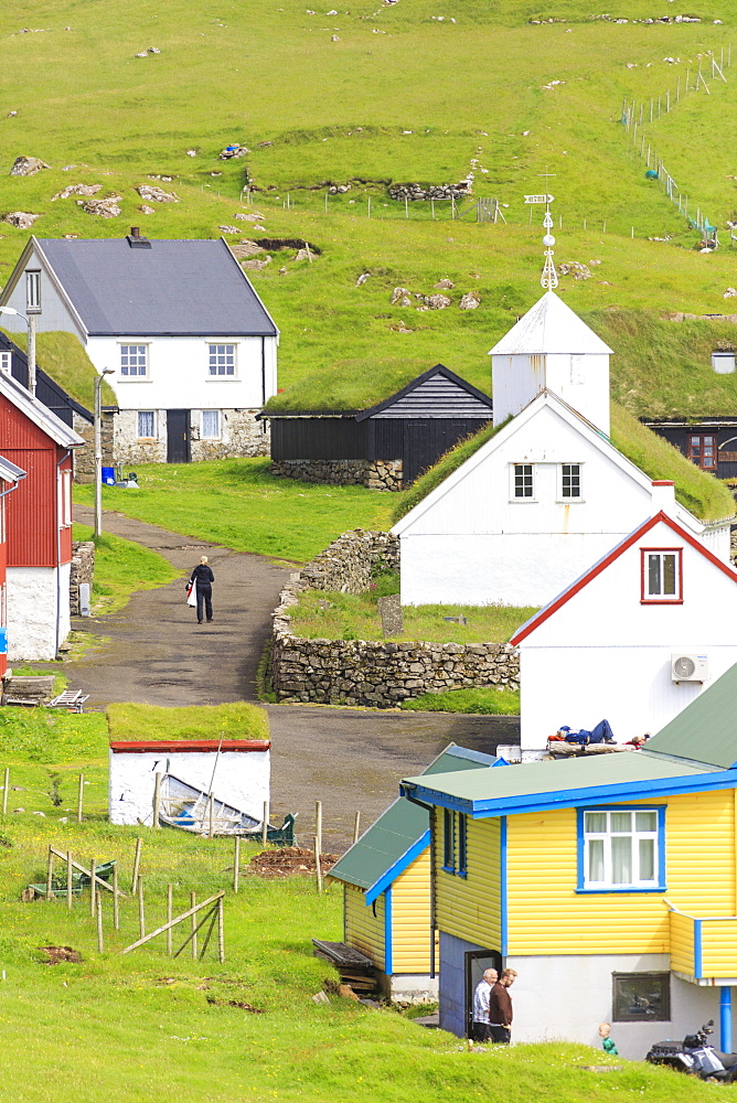 Traditional village of Mykines, Mykines Island, Faroe Islands, Denmark, Europe