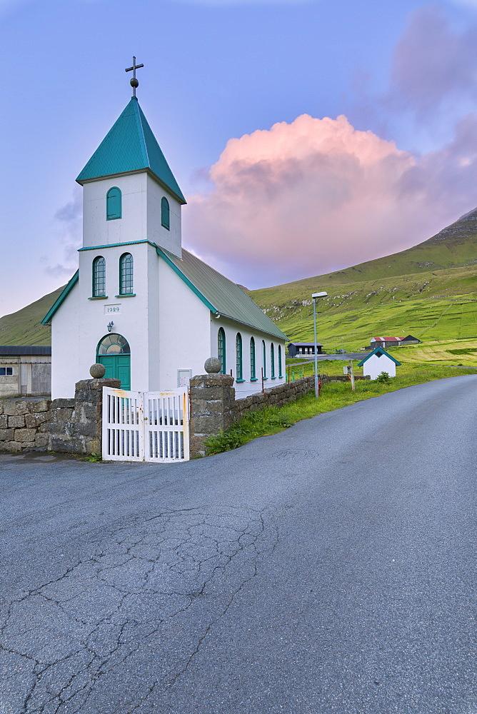 Church of Giogv, Eysturoy Island, Faroe Islands, Denmark, Europe