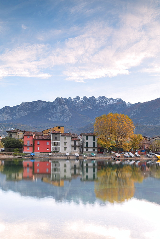 Sunrise on Mount Resegone and Pescarenico, Lecco province, Lombardy, Italy, Europe
