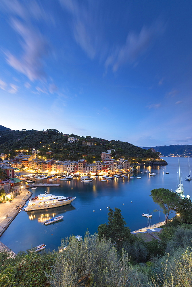 Elevated view of harbour and village of Portofino at dusk, province of Genoa, Liguria, Italy, Europe