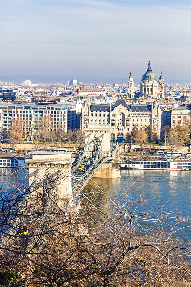 Chain Bridge and St. Stephen's Basilica, Budapest, Hungary