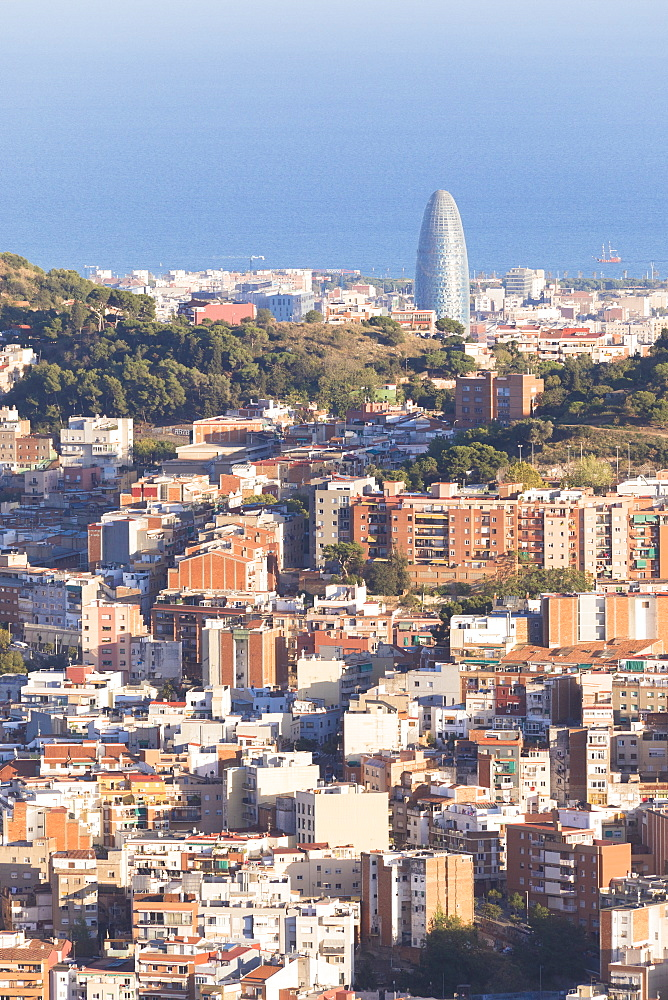 Overview of the city and Torre Agbar, Barcelona, Catalonia, Spain