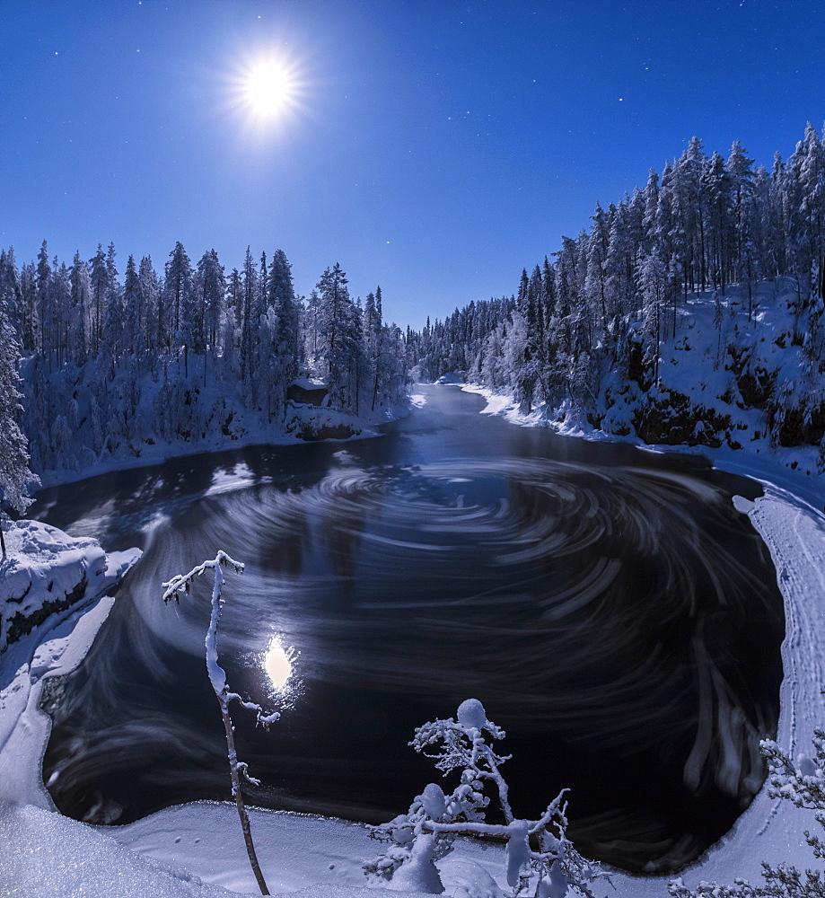Water vortex at Myllykoski rapids, Juuma, Oulanka National Park, Kuusamo, Lapland, Finland