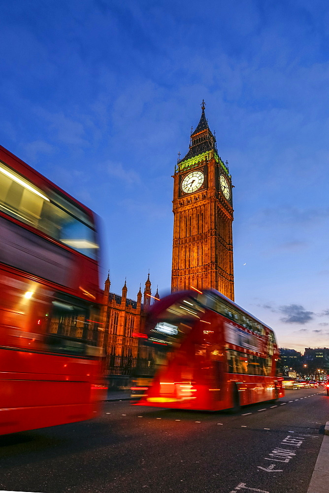 Typical double decker bus and Big Ben, Westminster, London, England, United Kingdom, Europe