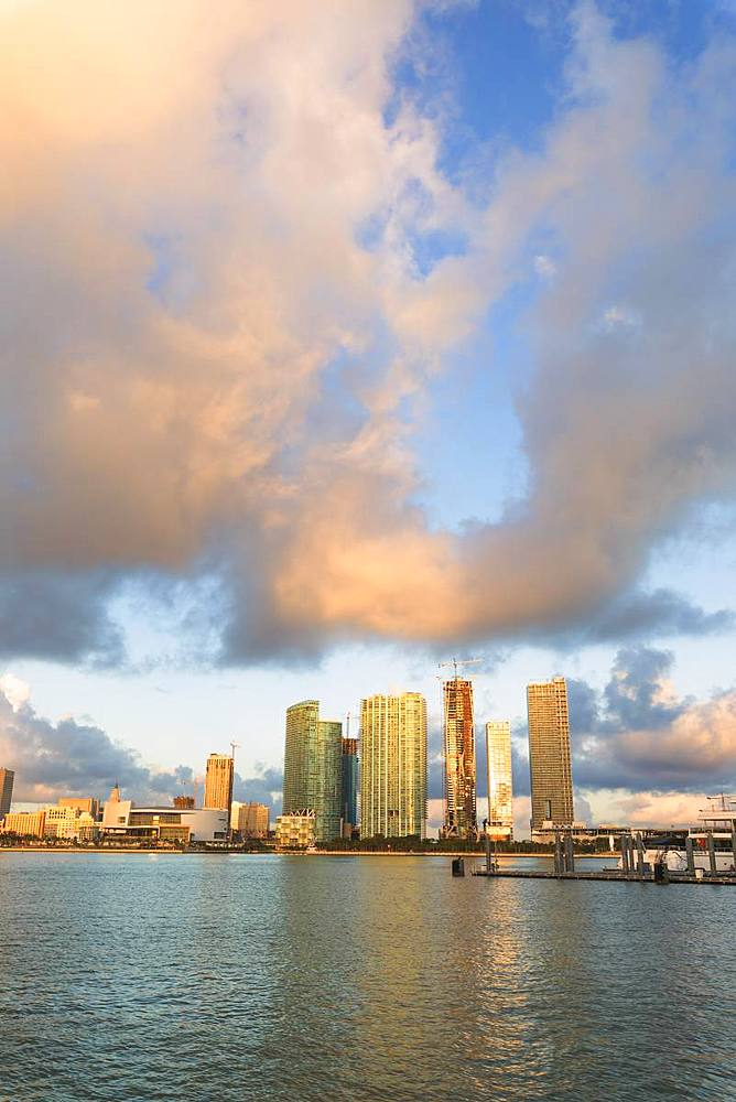 Skyscrapers seen from Watson Island, Miami, Florida, United States of America, North America