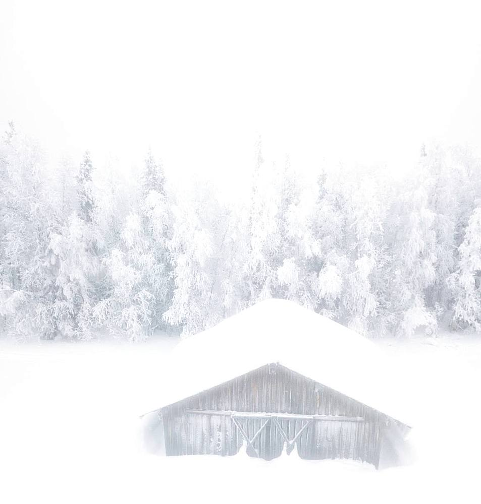Elevated panoramic view of snow covered hut in the mist, Levi, Kittila, Lapland, Finland, Europe - 1179-3317