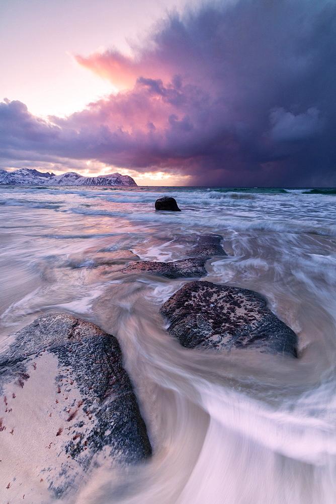 Sunset on the rough sea, Vikten, Flakstad municipality, Lofoten Islands, Nordland, Norway, Europe - 1179-3351