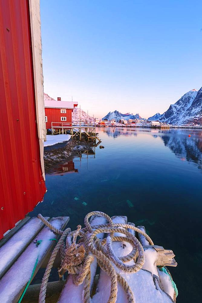 Traditional fisherman's huts (Rorbu), Reine Bay, Lofoten Islands, Nordland, Norway, Europe