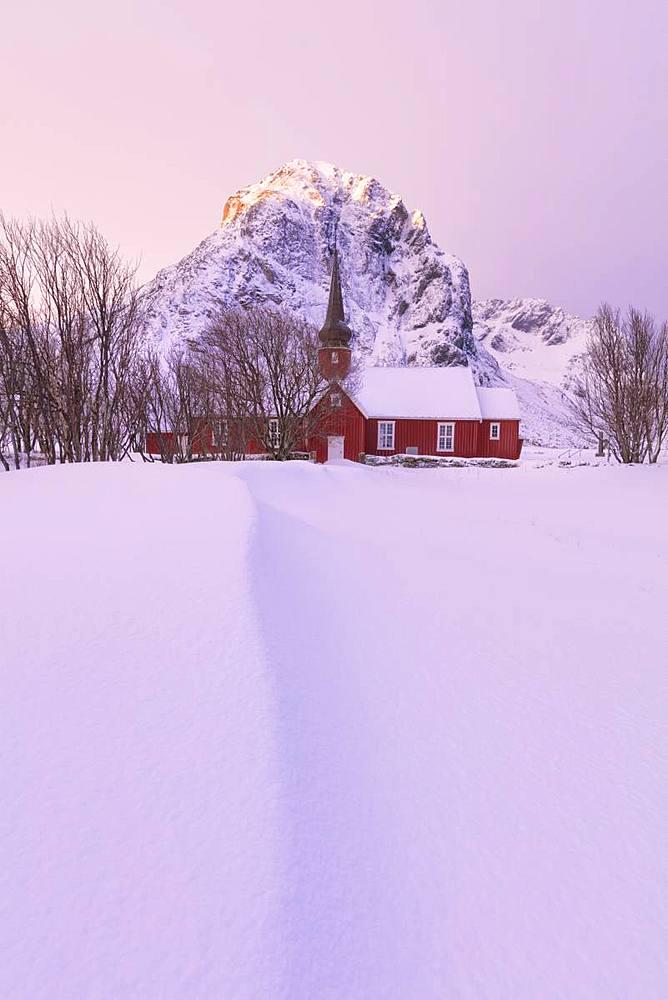 Flakstad church, Lofoten Islands, Nordland, Norway, Europe - 1179-3368