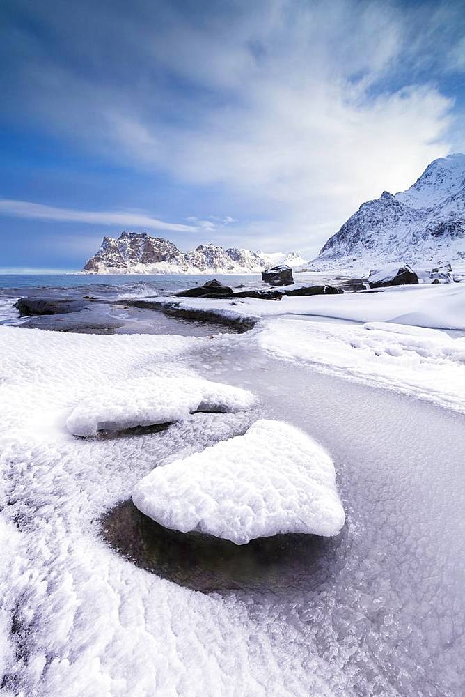 Uttakleiv Beach, Vestvagoy, Lofoten Islands, Nordland, Norway, Europe