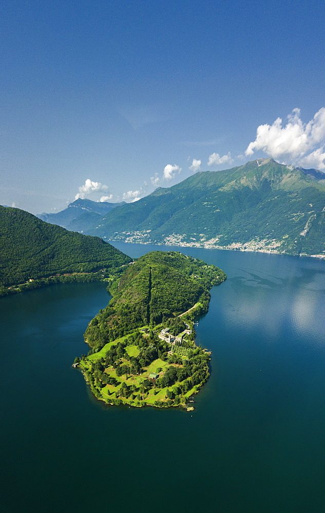 Panoramic aerial view of Piona Abbey (Abbazia Priorato di Piona) and Lake Como, Colico, Lecco province, Lombardy, Italian Lakes, Italy, Europe