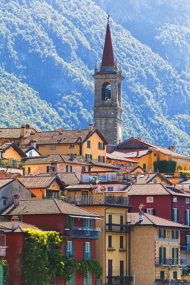 Old town and bell tower, Varenna, Lake Como, Lecco province, Lombardy, Italian Lakes, Italy, Europe