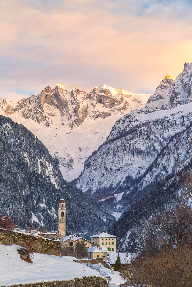 Alpine village of Soglio at sunset, Bregaglia Valley, Maloja Region, Canton of Graubunden, Switzerland, Europe