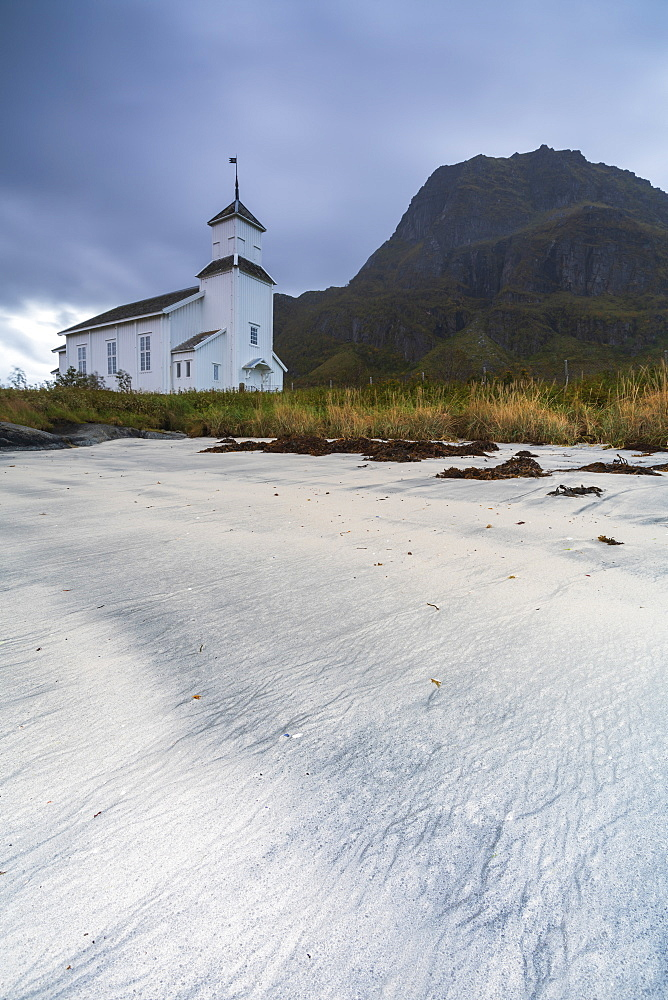 Church by beach on Gimsoya, Lofoten Islands, Norway, Europe