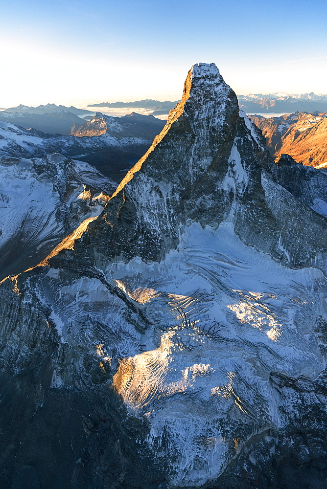 Aerial view of Matterhorn during sunrise, Zermatt, canton of Valais, Switzerland
