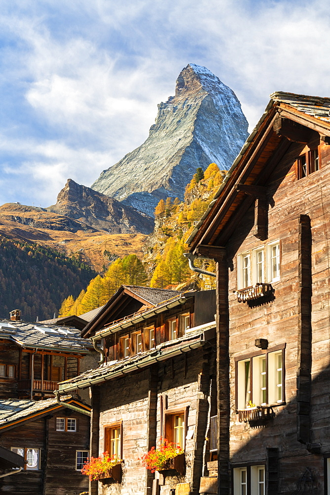 Wooden houses below Matterhorn in Zermatt, Switzerland, Europe