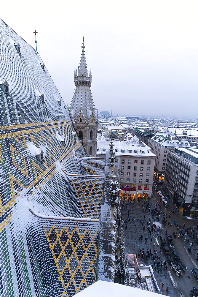 Roofs of the city center seen from the north tower of St. Stephen???s Cathedral (Stephansdom), Vienna, Austria