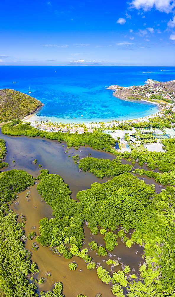 Aerial panoramic by drone of Carlisle Bay Beach, Antigua, Leeward Islands, West Indies, Caribbean, Central America