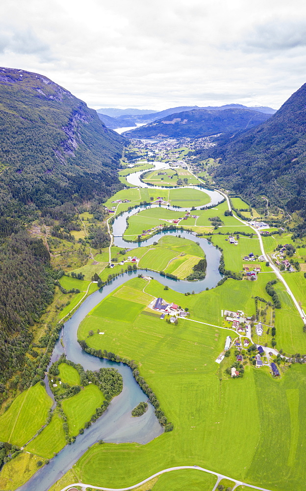 Aerial panoramic of serpentine shape of Stryneelva river, Stryn, Nordfjorden, Sogn og Fjordane county, Norway, Scandinavia, Europe