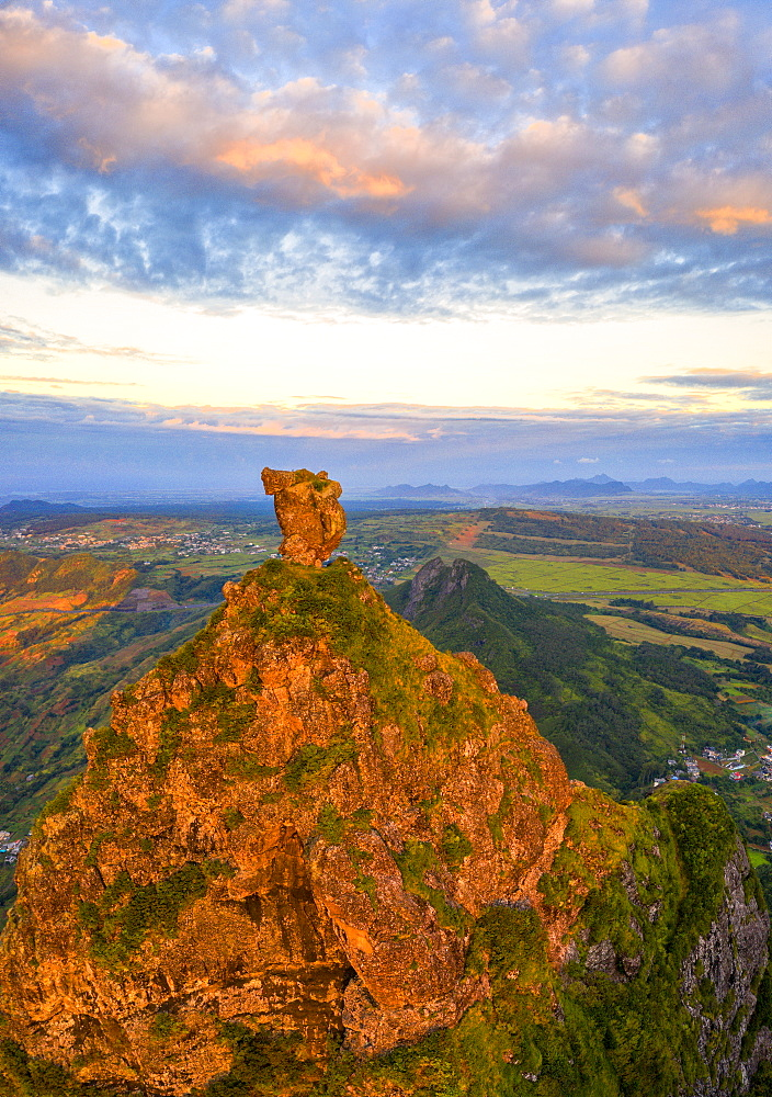Le Pouce mountain and Pieter Both at sunset, aerial view, Moka Range, Port Louis, Mauritius, Africa