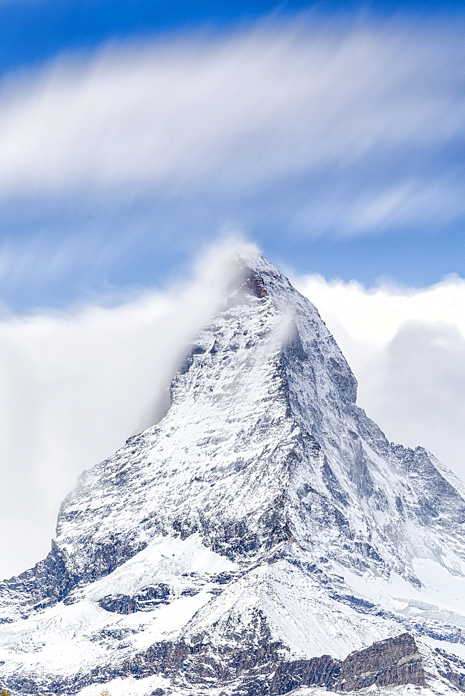 Clouds over Matterhorn covered with snow, Pennine Alps, Zermatt, canton of Valais, Swiss Alps, Switzerland, Europe