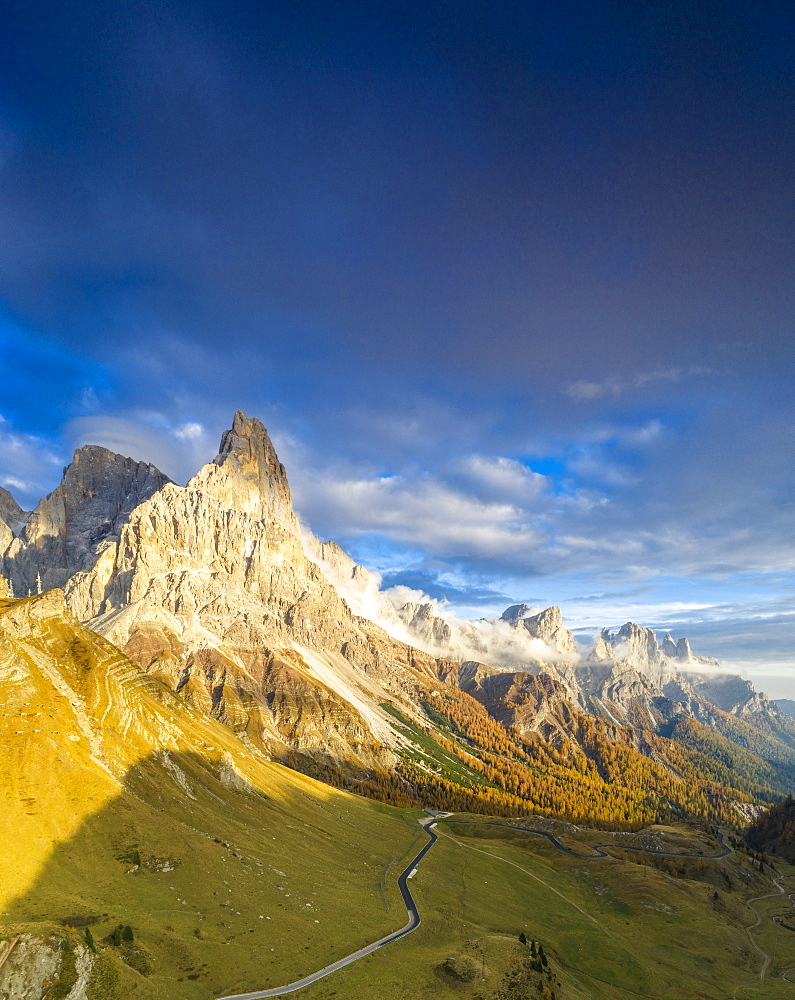 Aerial panoramic of Cimon della Pala in autumn, Pale di San Martino, Rolle Pass, Dolomites, Trentino, Italy, Europe