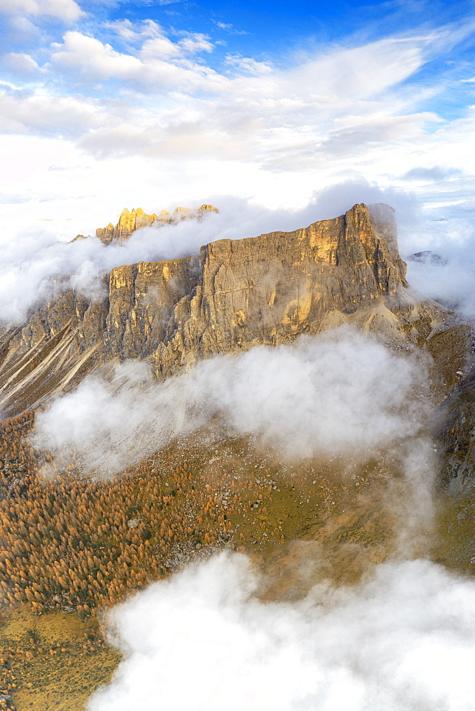 Aerial panoramic by drone of Lastoi De Formin and Cima Ambrizzola at sunset in autumn, Giau Pass, Dolomites, Veneto, Italy, Europe
