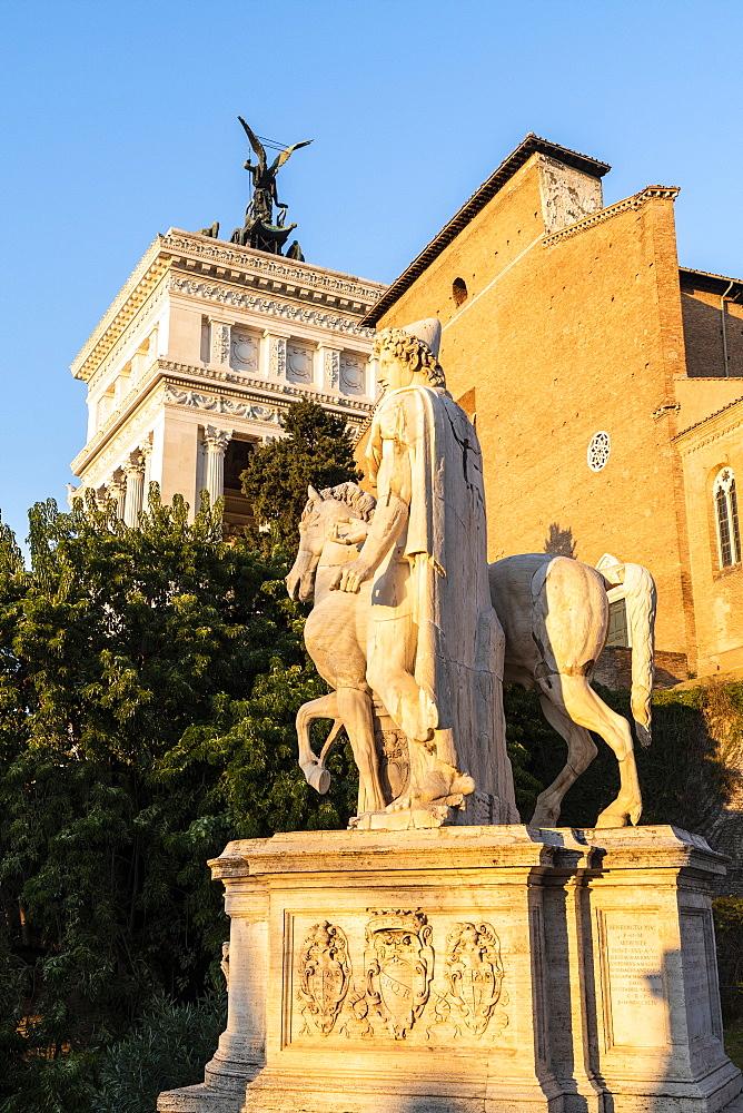 Equestrian statue at Campidoglio (Capitoline Hill) and Vittoriano or Altare della Patria, Rome, Lazio, Italy, Europe