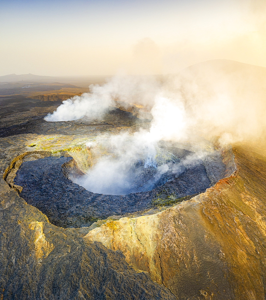 Panoramic of the active Erta Ale volcano caldera, aerial view, Danakil Depression, Afar Region, Ethiopia, Africa