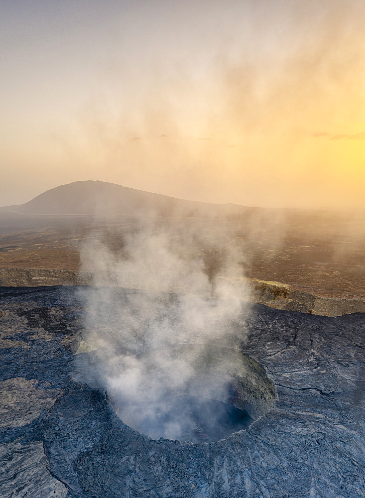 Panoramic of sunset over the active Erta Ale volcano crater, aerial view, Danakil Depression, Afar Region, Ethiopia, Africa