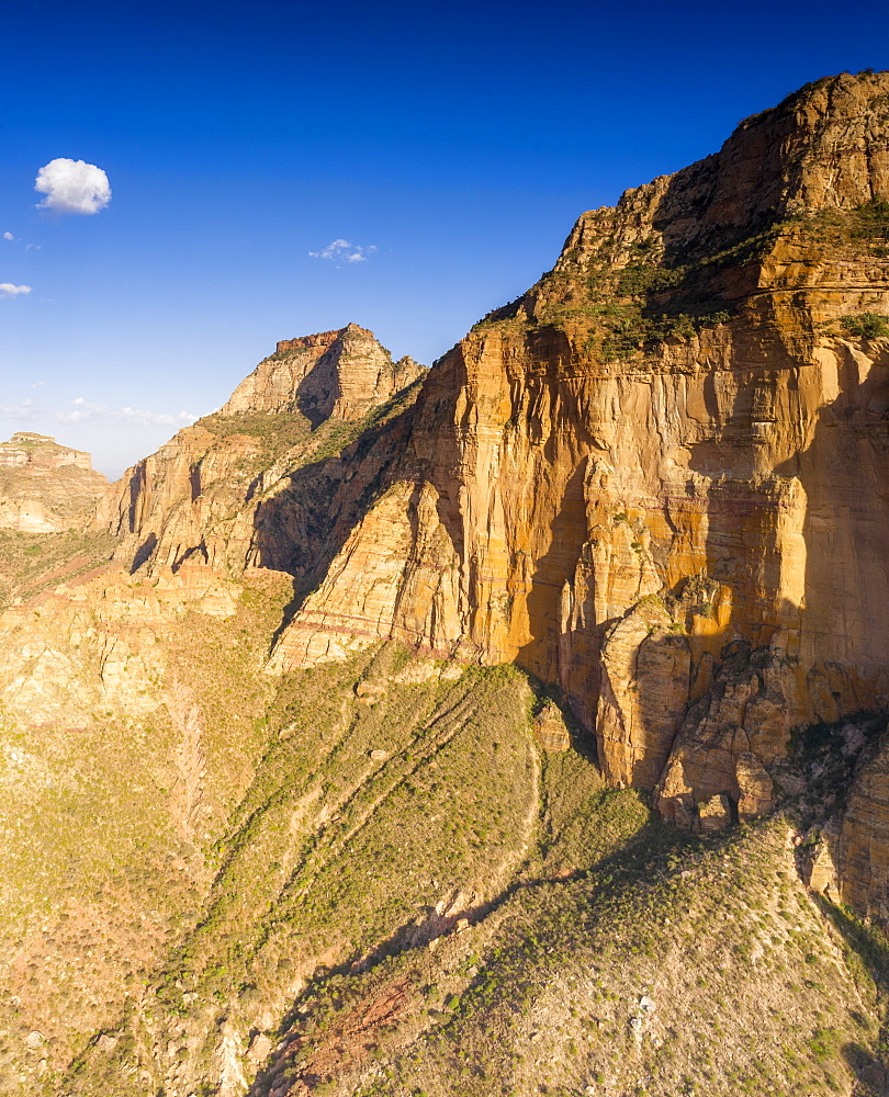 Aerial panoramic by drone of eroded rocks of Gheralta Mountains, Hawzen, Tigray Region, Ethiopia, Africa