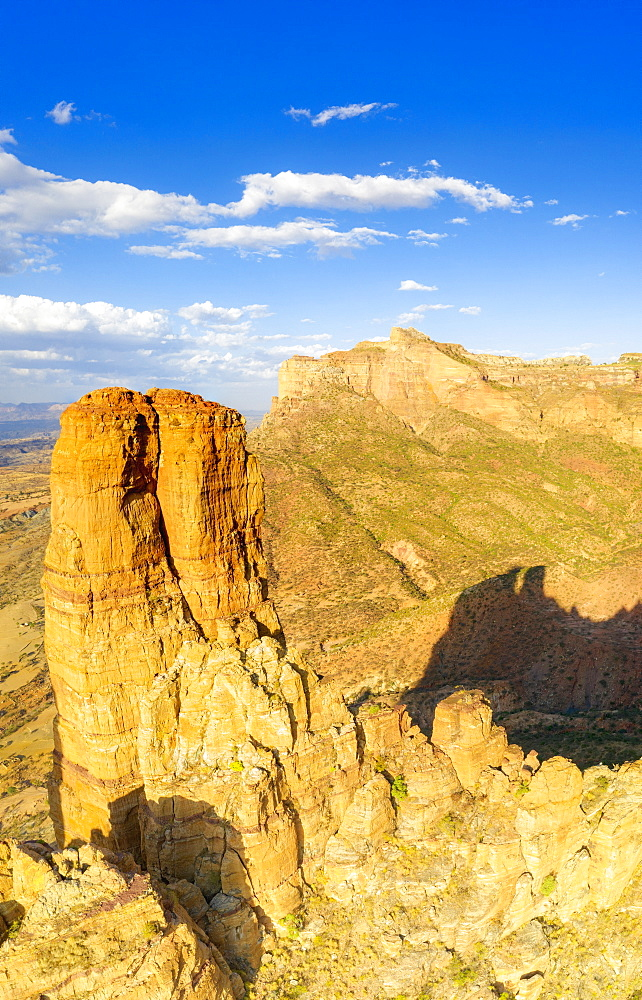 Aerial panoramic by drone of tall rock towers of Gheralta Mountains, Hawzen, Tigray Region, Ethiopia, Africa