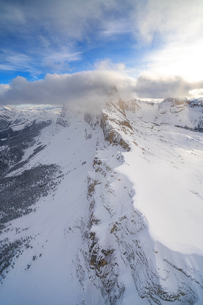 Seceda and Odle mountain range in winter, aerial view, Val Gardena, Dolomites, Trentino-Alto Adige, Italy, Europe
