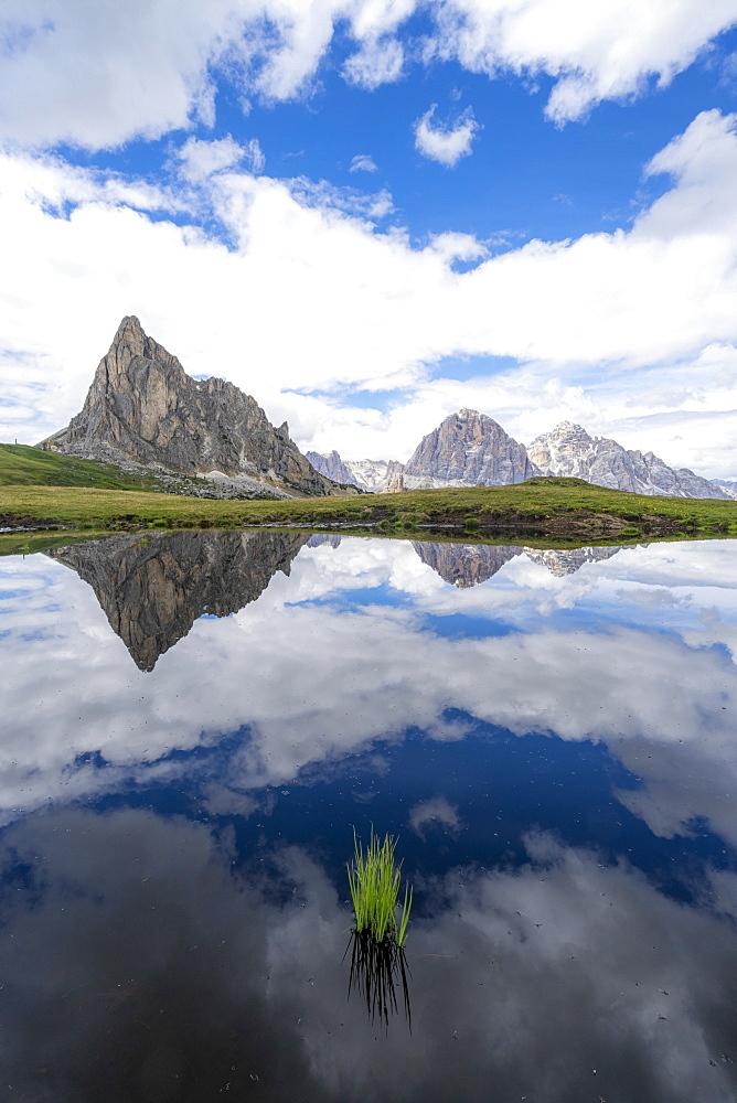 Ra Gusela and Tofane mountains mirrored in water, Giau Pass, Dolomites, Belluno province, Veneto, Italy, Europe - 1179-4661