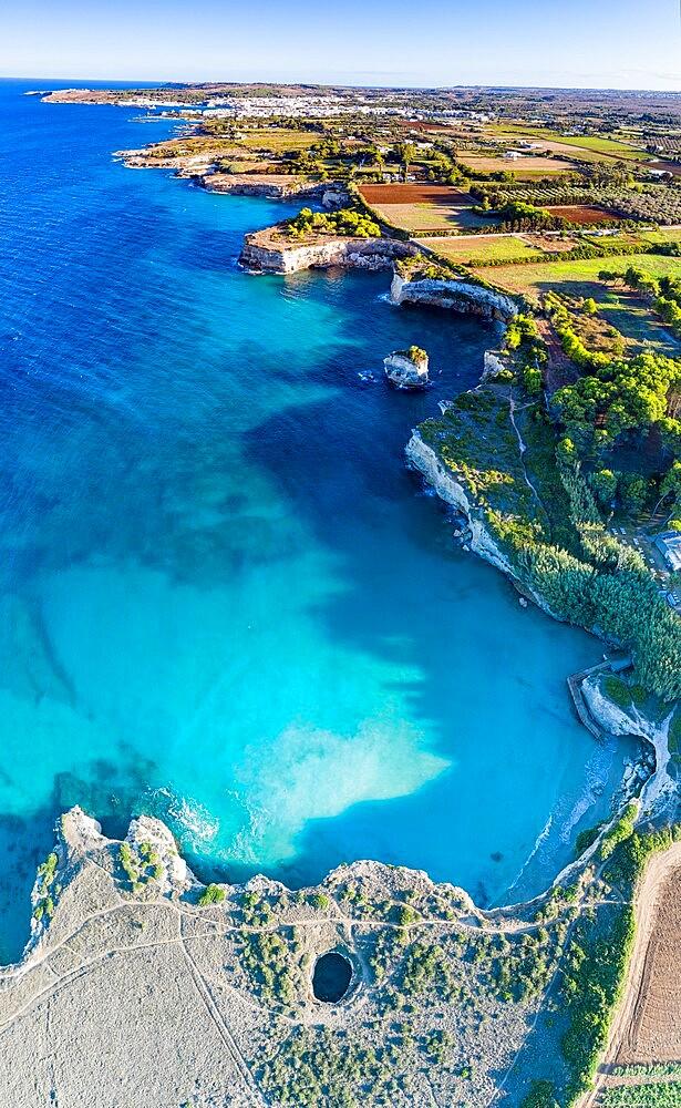 Aerial view of the open grotto known as Grotta Sfondata on cliffs along the coastline, Otranto, Lecce, Salento, Apulia, Italy, Europe - 1179-4980