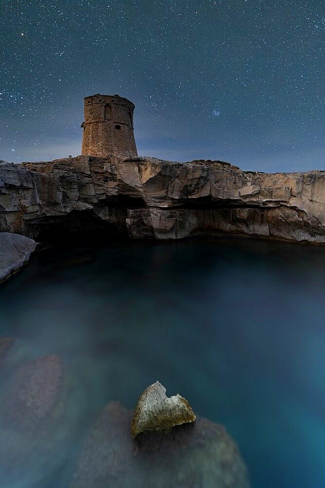 Starry sky over Torre Miggiano tower on cliffs above the sea, Santa Cesarea Terme, Porto Miggiano, Lecce, Salento, Apulia, Italy, Europe - 1179-4984