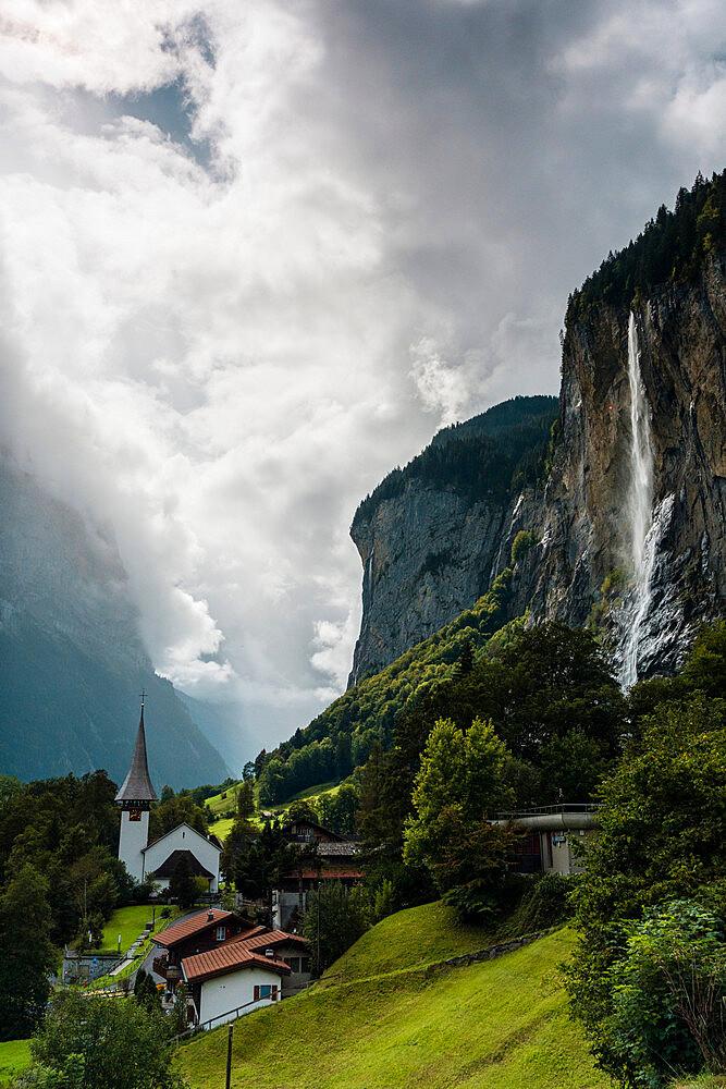The Staubbach Falls in summer, Lauterbrunnen, Bernese Oberland, canton of Bern, Switzerland - 1179-5049