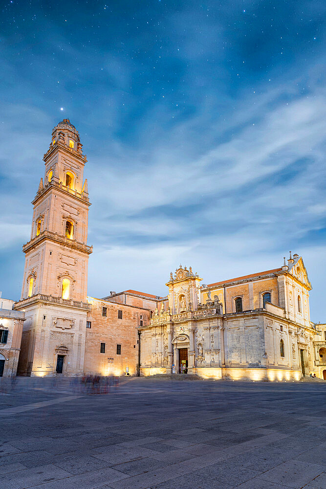 Bell tower and Cathedral at night, Piazza del Duomo, Lecce, Salento, Apulia, Italy - 1179-5055
