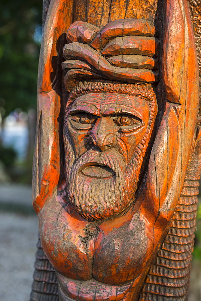 Hand carved wooden statues im the center of Noumea, New Caledonia