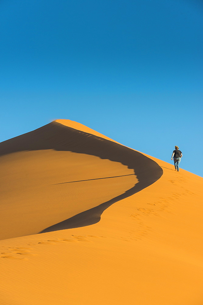 Woman hiking up the giant Sand Dune 45, Sossusvlei, Namib-Naukluft National Park, Namibia, Africa