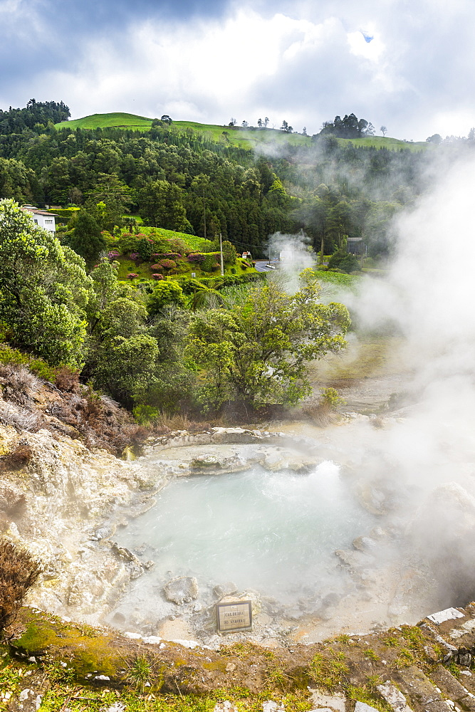 Fumaroles in the town of Furnas, Island of Sao Miguel, Azores, Portugal, Atlantic, Europe