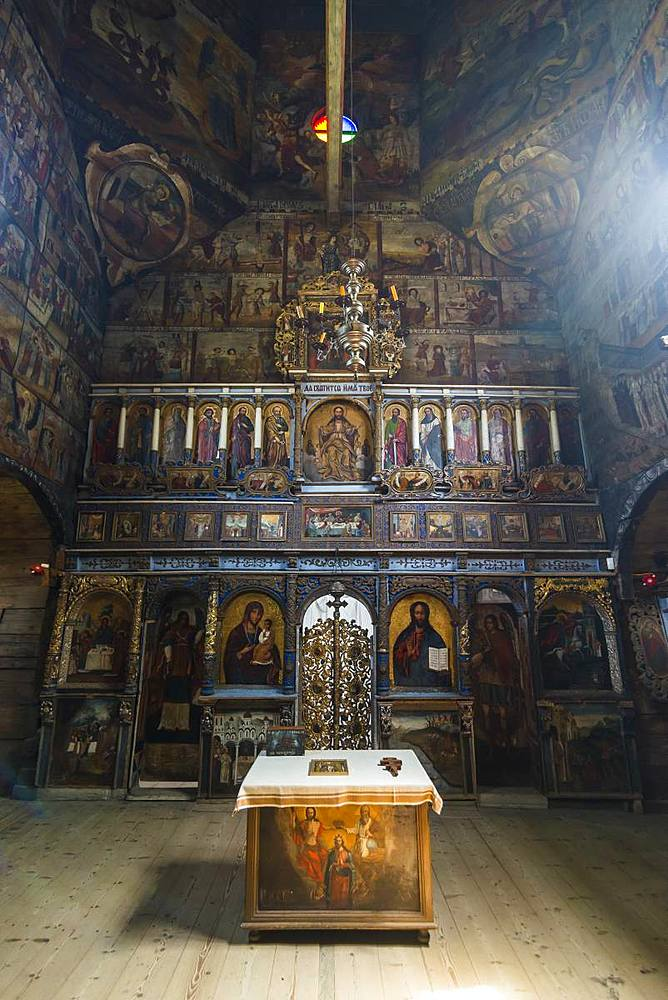Beautiful paintins in the Unesco world heritage sight the wooden St. George's Church, Drohobych, Ukraine