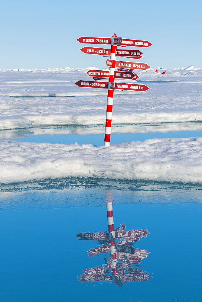 Sign for destinations around te world on the North Pole, Arctic