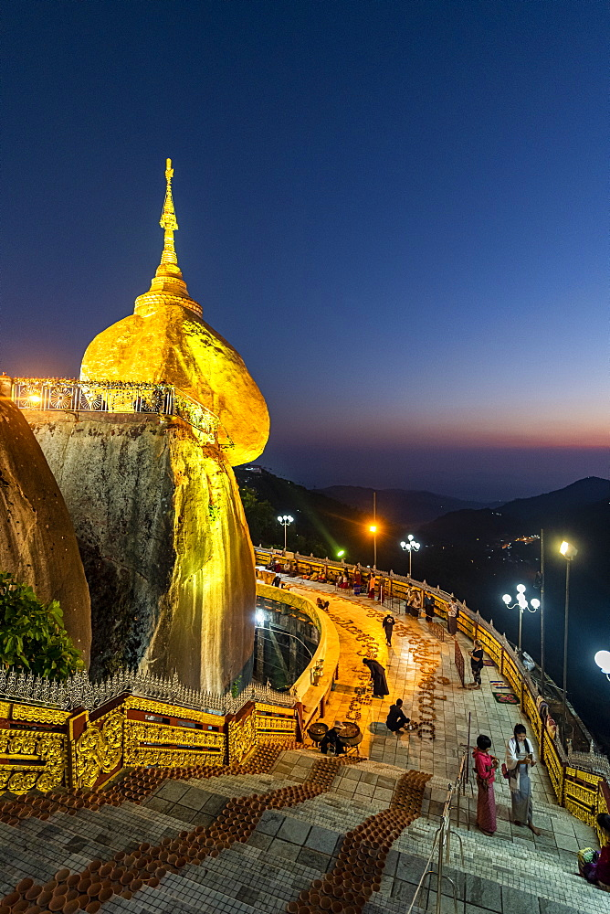 Kyaiktiyo Pagoda (Golden Rock) after sunset, Mon state, Myanmar (Burma), Asia