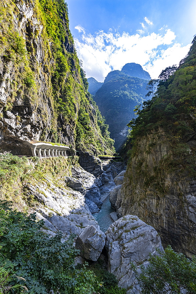 Road carved in the rocks, Taroko Gorge, Taroko National Park, Hualien county, Taiwan, Asia