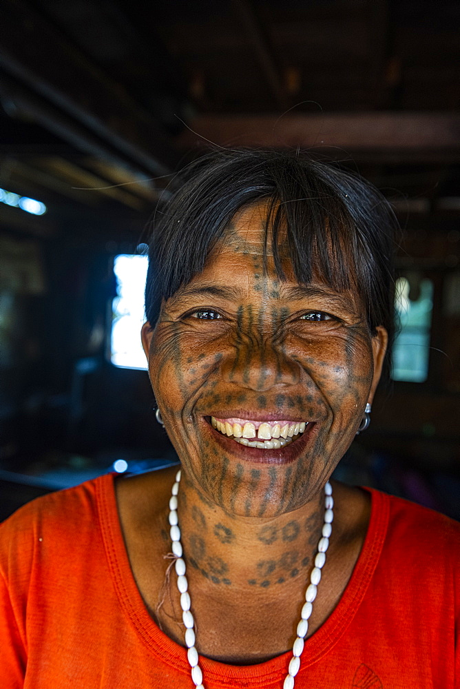 Chin woman with spiderweb tattoo, Mindat, Chin state, Myanmar (Burma), Asia